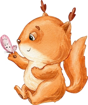 Watercolor illustration picture of cute red brown squirrel and pink butterfly