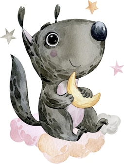 Watercolor illustration picture drawing cute black squirrel animal with big eyes holding the moon