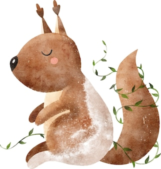 Watercolor illustration for print cute brown squirrel in green leaves