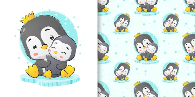 Watercolor illustration of queen of penguin holding her baby