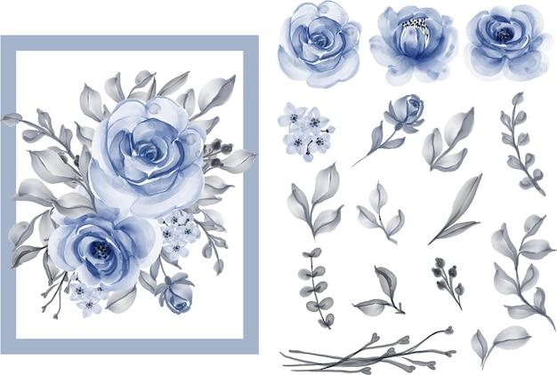 水彩イラストバラと葉ネイビーブルー孤立したクリップアート