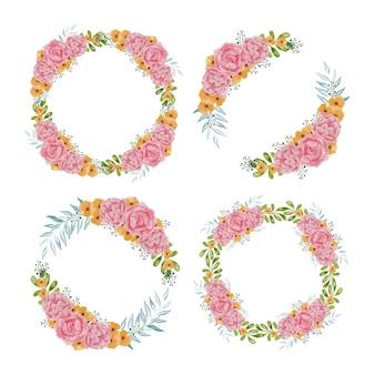 Watercolor illustration of rose flower circle frame set