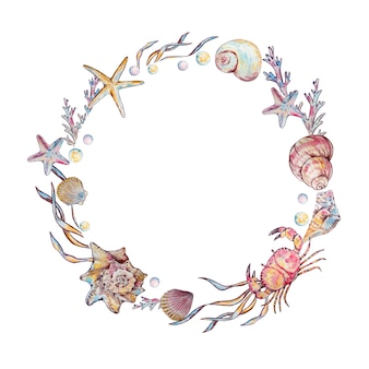 Watercolor illustration round frame with seashells
