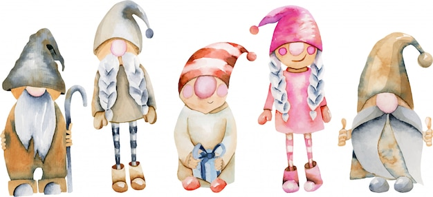 Watercolor illustration of scandinavian trolls, christmas gnomes