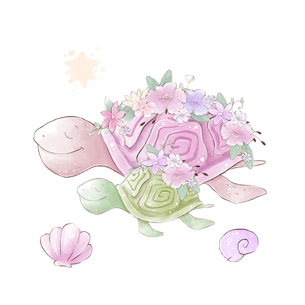 Watercolor illustration of sea turtles mom and baby with delicate flowers