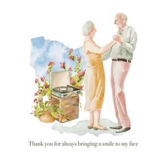 Watercolor illustration of seniors couple dancing outdoor with retro vinyl player