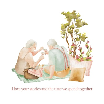 Watercolor illustration of seniors couple on picnic