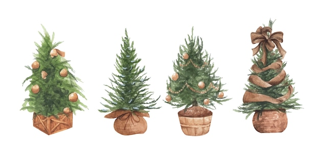 Watercolor illustration set of christmas trees in pots