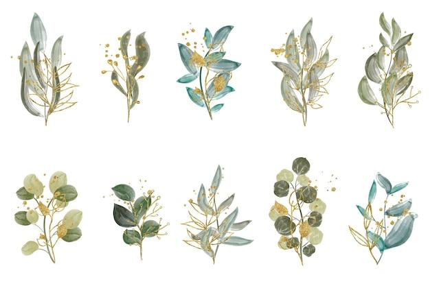 水彩イラストセット-緑の葉の枝のコレクション。結婚式、挨拶、壁紙、ファッションに。ユーカリ、オリーブ、緑の葉。