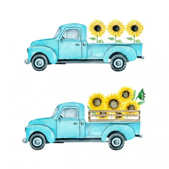 Watercolor illustration of a summer light blue farm pickup truck with sunflowers