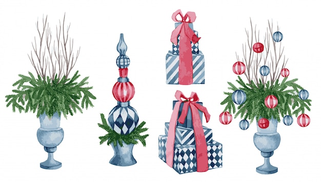 Watercolor illustration, vector set of christmas decor