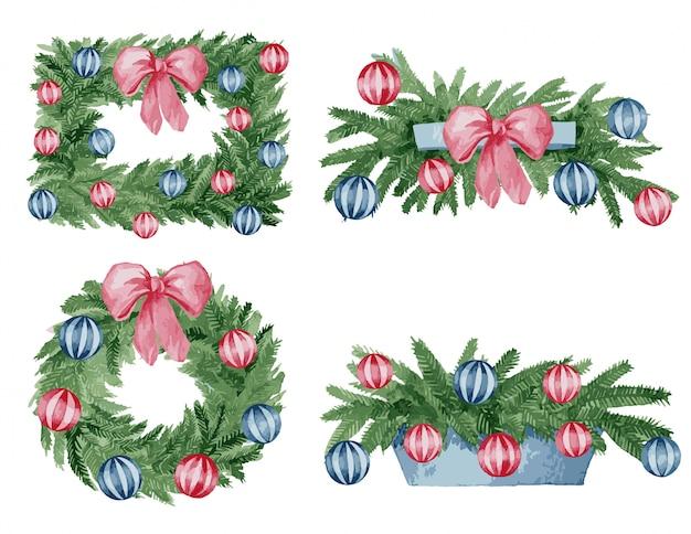 Акварельные иллюстрации, векторный набор рождественского декора