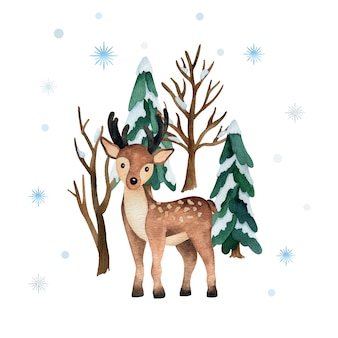 Watercolor illustration with cute deer and winter forest