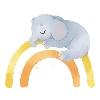 무지개에 귀여운 코끼리와 수채화 그림