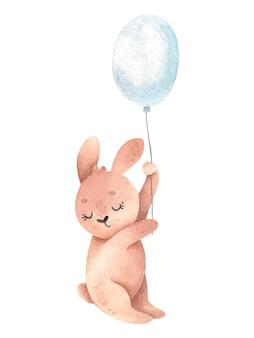 風船にかわいいウサギと水彩イラスト