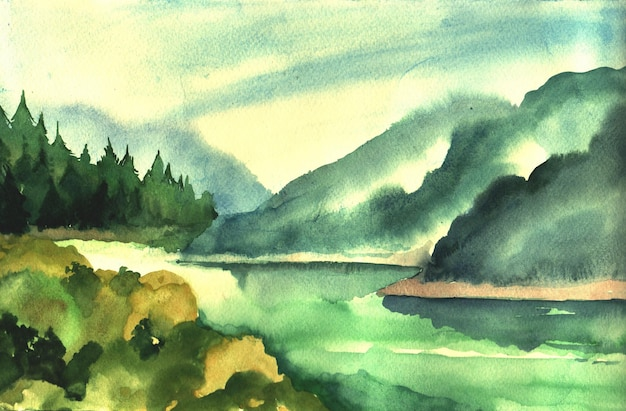 Watercolor illustration with forest and mountains