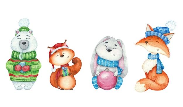 Акварельные иллюстрации с лиса, медведь, заяц, белка для дизайна рождественской открытки на белом изолированные