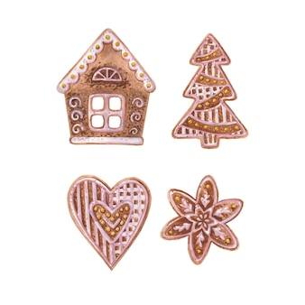 Watercolor illustration with gingerbread on a white background