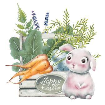 Watercolor illustration with happy easter basket