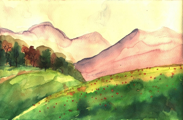 Watercolor illustration with hills and mountains
