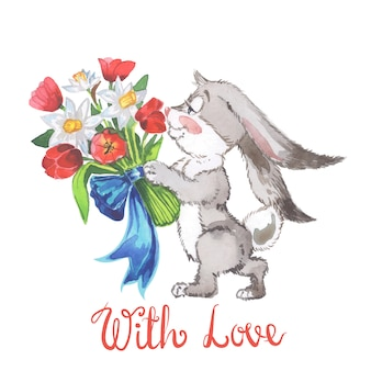 Watercolor illustration with little bunny and tulips and leaves