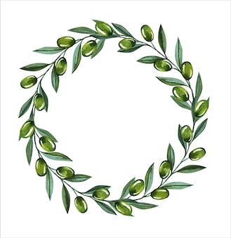 Watercolor illustration with olive branches and berries wreath. floral illustration