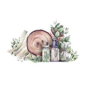薬局のボトルと有機健康ハーブの水彩イラスト。アロマテラピー、薬、オーガニック化粧品用のグリーンハーブとドライハーブ。ヘルスケア製品