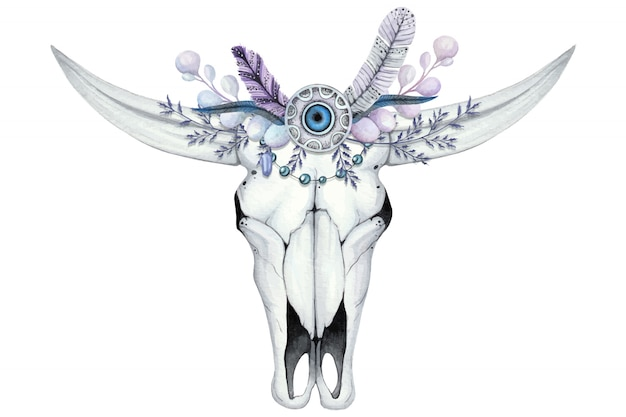 Watercolor illustration with skull of buffalo and flower wreath with stone and feathers