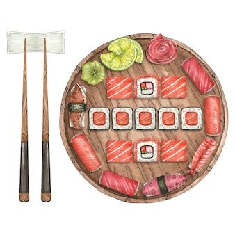 Акварельные иллюстрации с суши и деревянной тарелкой и палочками