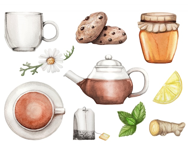 Watercolor illustration with tea set hand drawn
