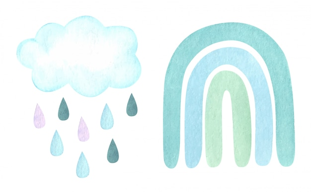 Watercolor illustration with trendy carm neutral rainbow, clouds, raindrops isolated on white. baby shower, nursery decor.