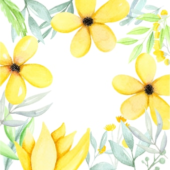 Watercolor illustration with yellow flowers and green leaves