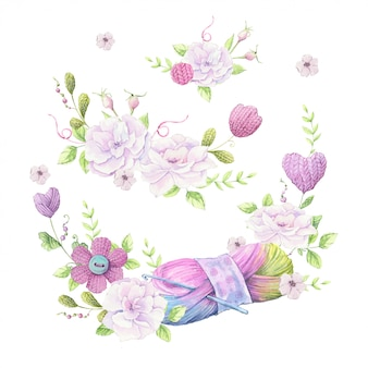 Watercolor illustration of a wreath of a bouquet of wild roses of pale pink color and accessories for knitting needlework