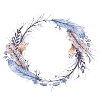 Watercolor illustration wreath from branches and feathers and a beads isolated