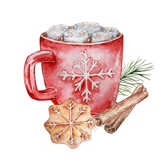 Watercolor illustrations of hot chocolate with marshmallows in a red mug