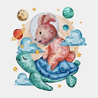 かわいい動物の水彩イラスト
