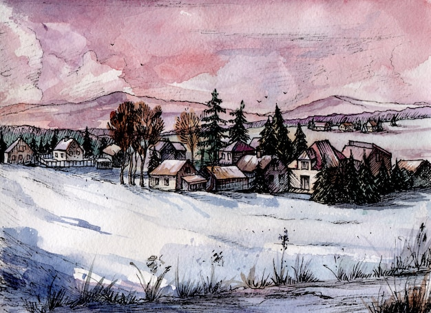 Watercolor image of winter landscape