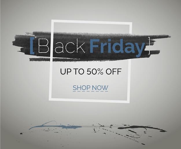 フレームに水彩、コンクリートの床に青と黒の水しぶき。ブラックフライデーセールは、テクノロジーweb広告用のベクターヒップバナーを割引します。