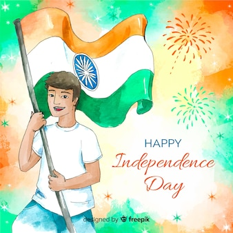 Watercolor india independence day background