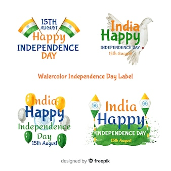 Watercolor india independence day badge collection