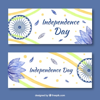 Watercolor india independence day banner