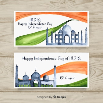 Watercolor india independence day banners