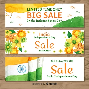 Watercolor india independence day sale banners