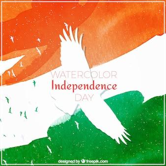 鳩と水彩インディアンの旗の背景