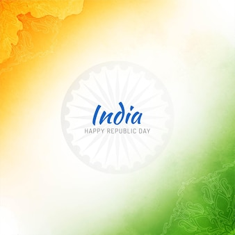 Watercolor indian flag stylish republic day background