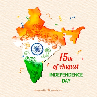 Watercolor indian independence day background with map