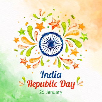 Watercolor indian republic day concept