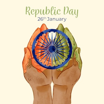 Watercolor indian republic day with hands