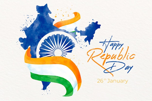 Watercolor indian republic day with map and flag