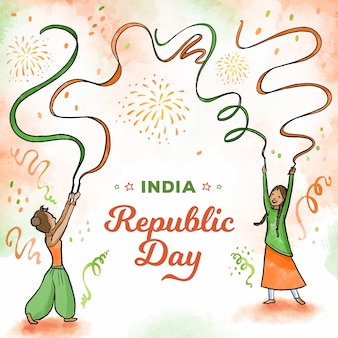 Watercolor indian republic day